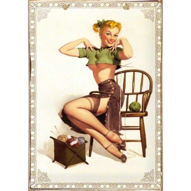 Pinup Girl -Ξύλινος  Πίνακας Χειροποίητος 20 x 30 cm