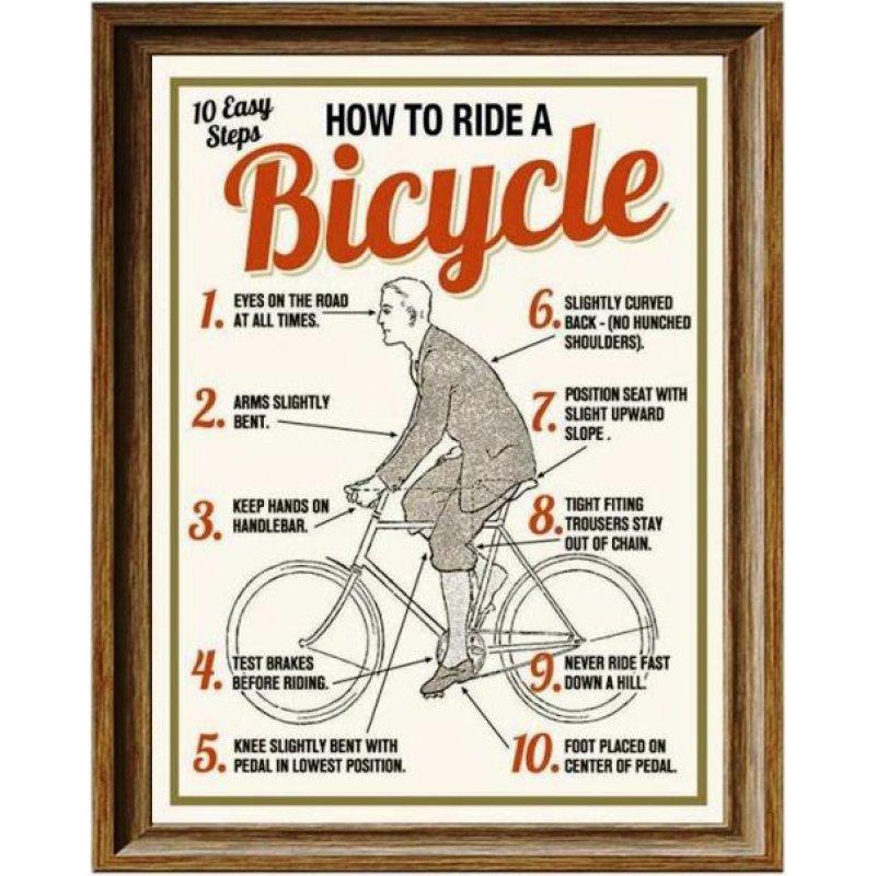 Πώς να κάνεις ποδήλατο - Ρετρό Πίνακας Χειροποίητος