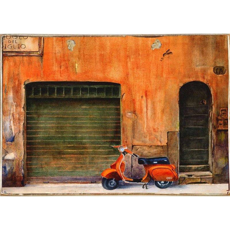 Red Vespa-Ξύλινος  Πίνακας Χειροποίητος 20 x 30 cm