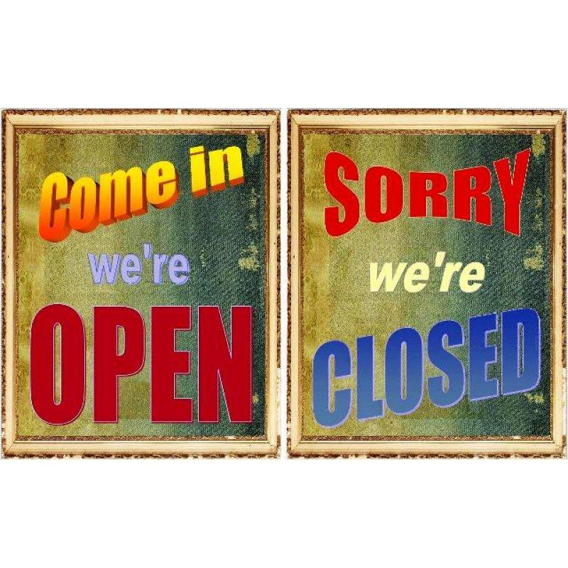 Ρετρό πίνακας χειροποίητος 'come in we're open & sorry we're closed'