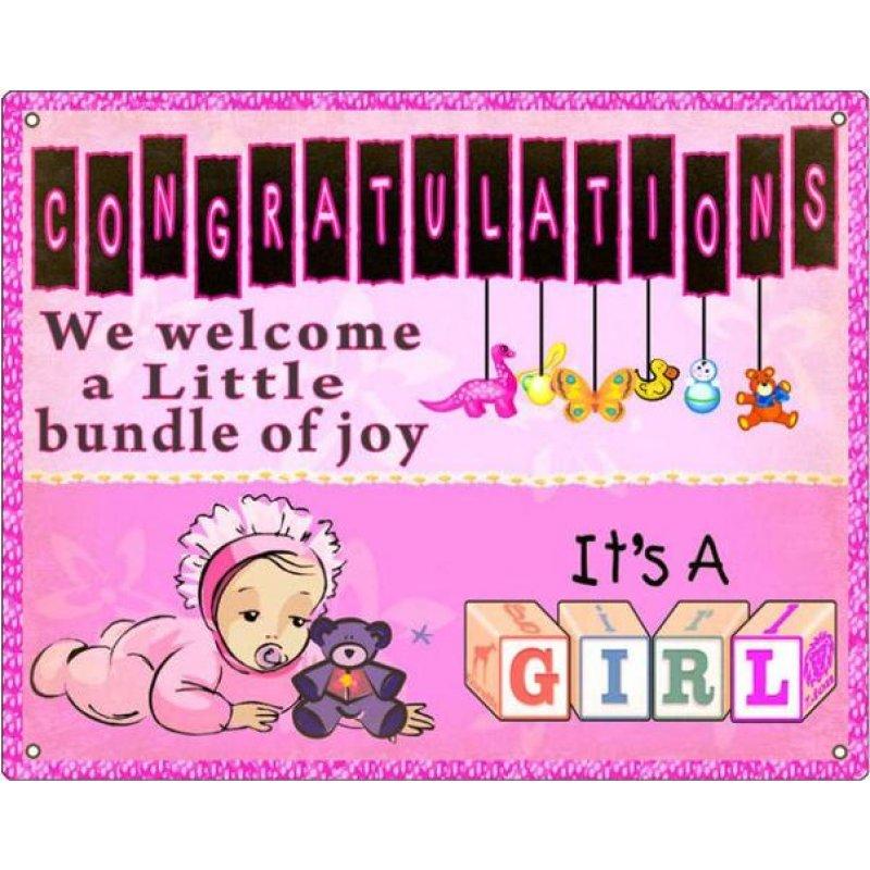 Ρετρό Πίνακας Χειροποίητος 'Congratulation's it's a girl'