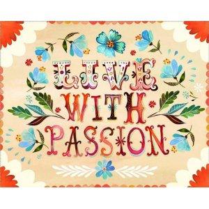Ρετρό πίνακας χειροποίητος 'live with passion' με λουλούδια σ&epsilon
