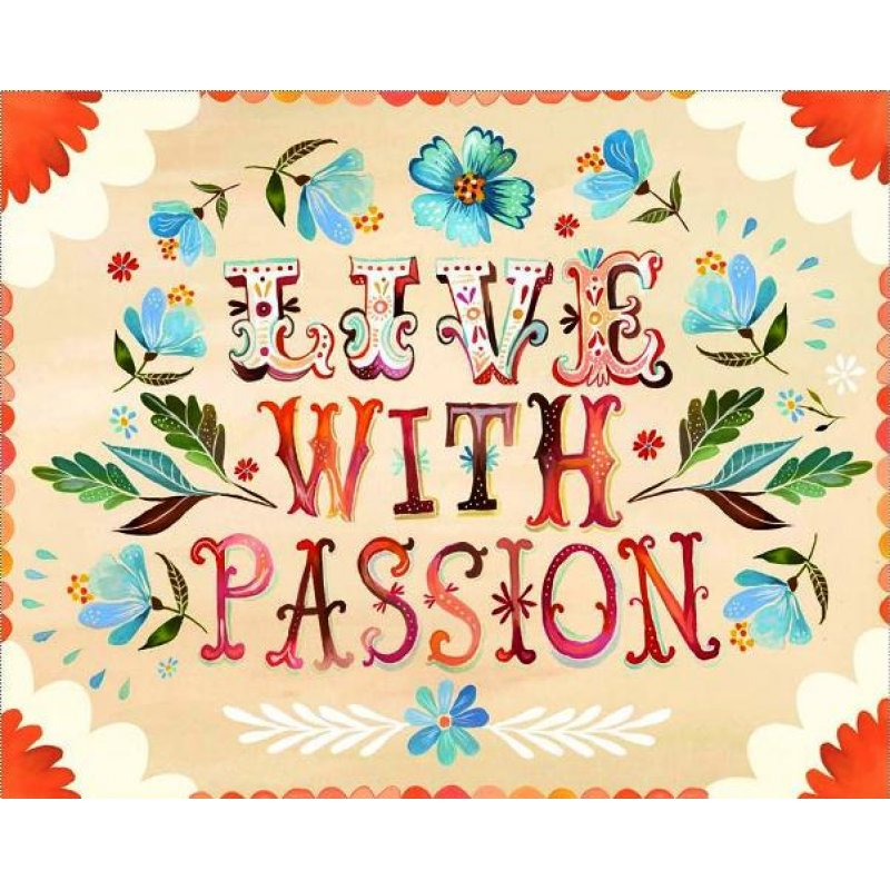Ρετρό πίνακας χειροποίητος 'live with passion' με λουλούδια σε κρεμ φόντο