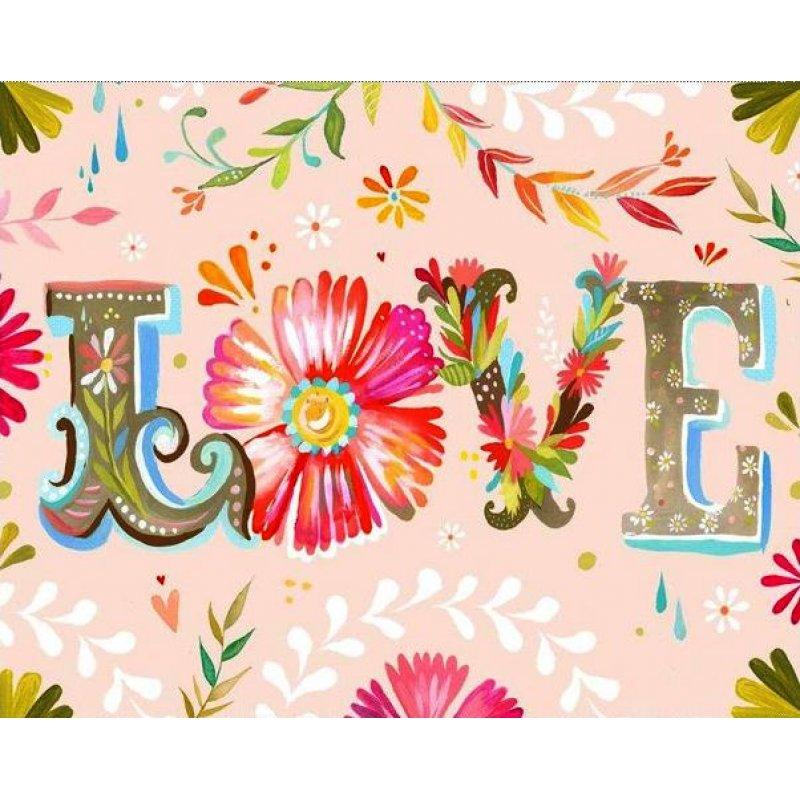 Ρετρό πίνακας χειροποίητος 'love' με λουλούδια σε ροζ φόντο