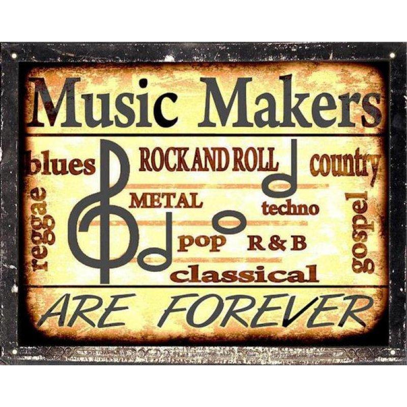 Ρετρό Πίνακας Χειροποίητος 'music makers are forever'