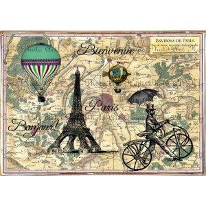 Ρετρό Πίνακας Χειροποίητος Bienvenue A Paris 30 x 20 cm