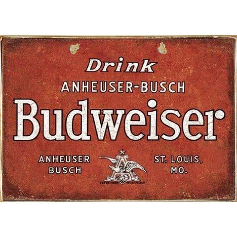 Ρετρό Πίνακας Χειροποίητος Budweiser 30 x 20 cm