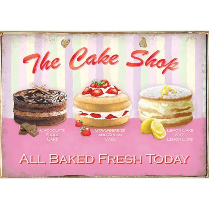 Ρετρό Πίνακας Χειροποίητος Cake Shop 30 x 20 cm