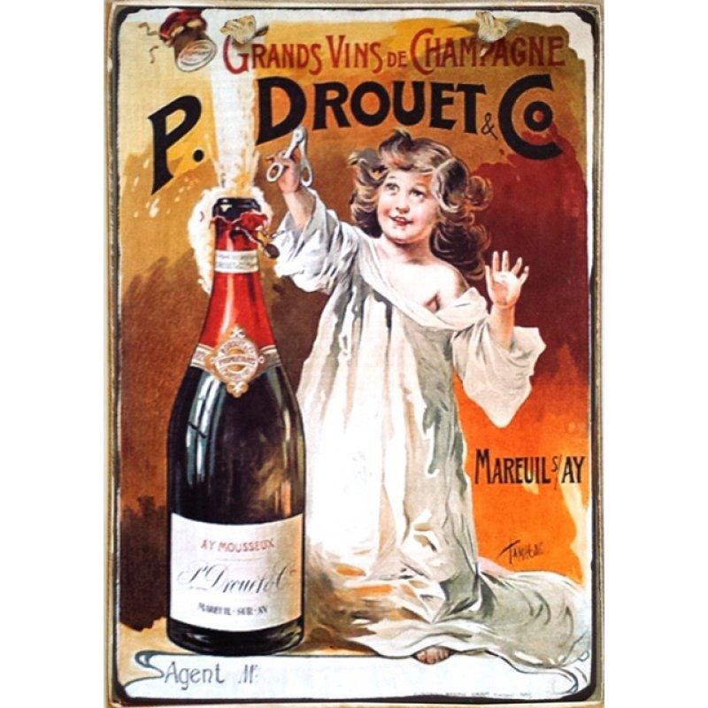 Ρετρό Πίνακας Χειροποίητος Champagne 20 x 30 cm