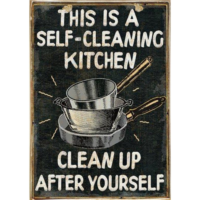 Ρετρό Πίνακας Χειροποίητος Clean Kitchen 20 x 30 cm
