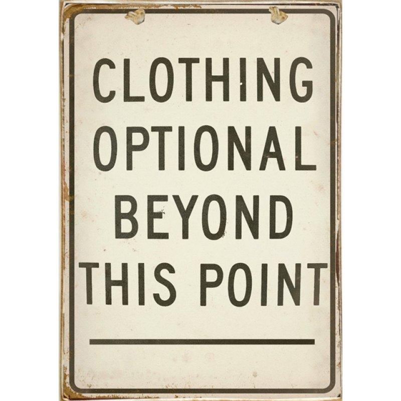 Ρετρό Πίνακας Χειροποίητος Clothing is Optional 20 x 30 cm