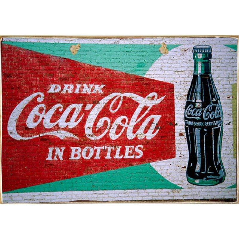 Ρετρό Πίνακας Χειροποίητος Coca Cola 30 x 20 cm