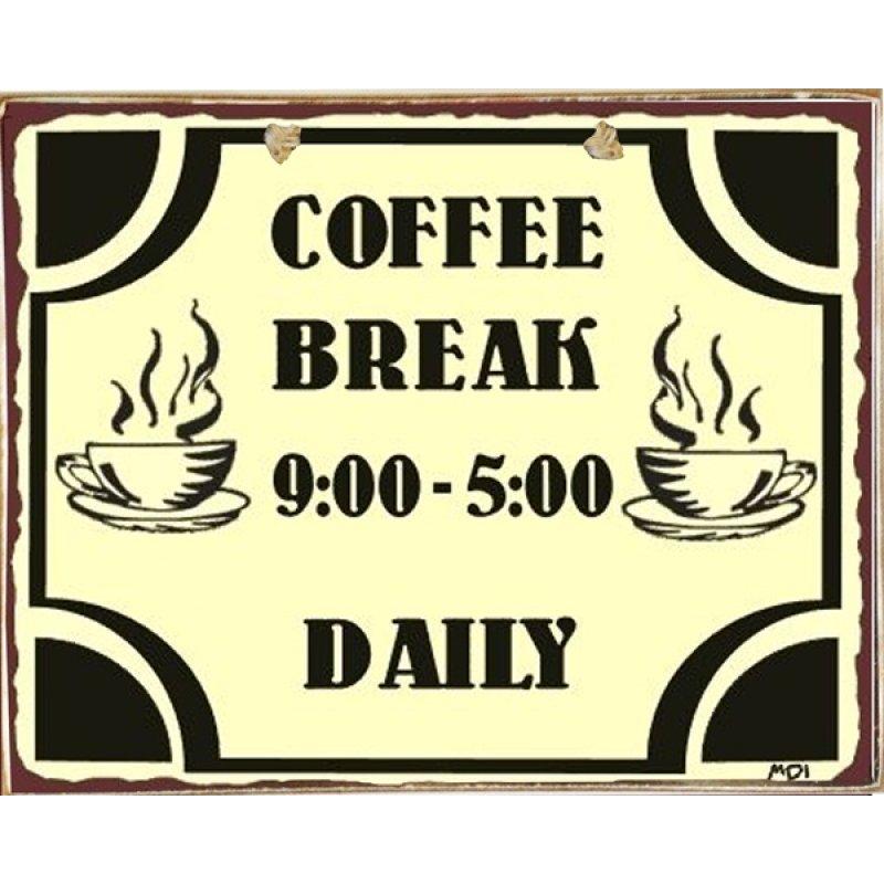 Ρετρό Πίνακας Χειροποίητος Coffee Break 20 x 25cm