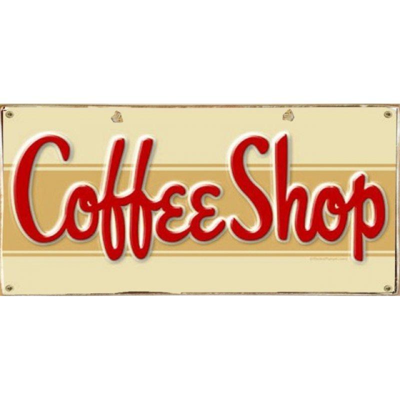 Ρετρό Πίνακας Χειροποίητος  Coffee Shop 13 x 26 cm