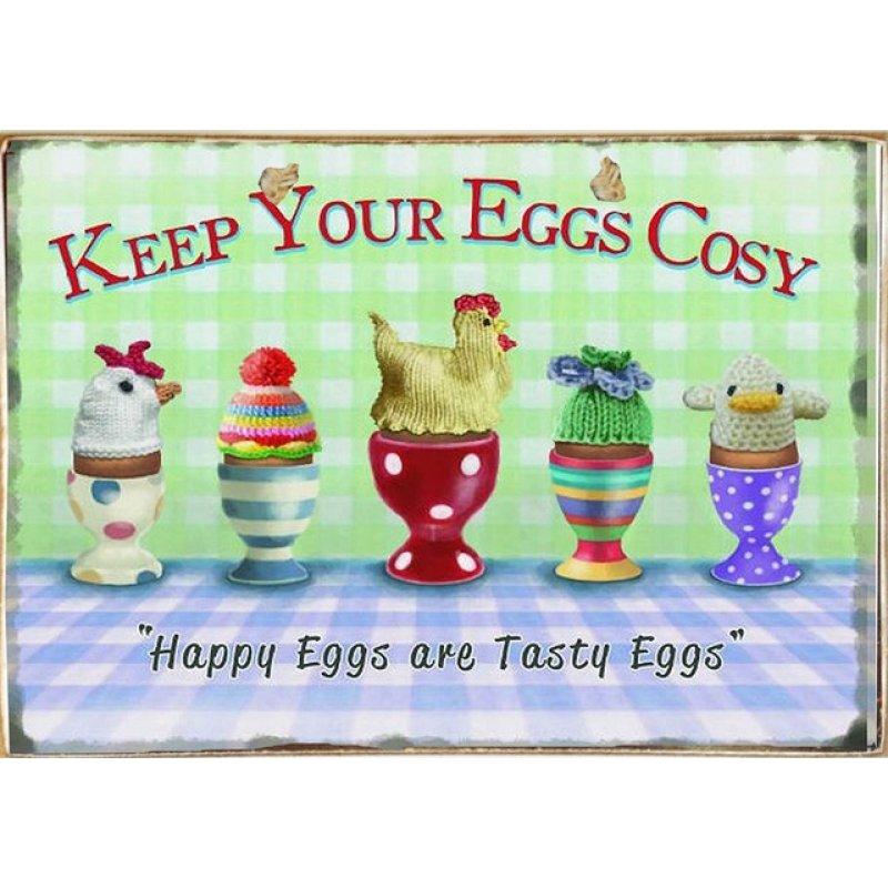 Ρετρό Πίνακας Χειροποίητος COSy Eggs 30 x 20 cm