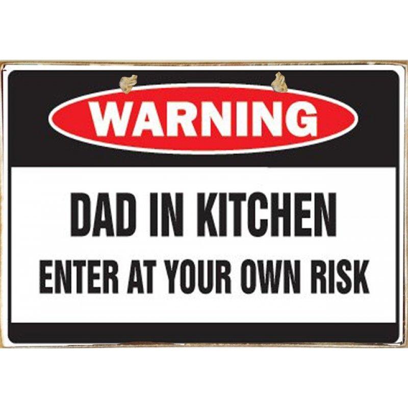 Ρετρό Πίνακας Χειροποίητος Dad In Kitchen 30 x 20 cm