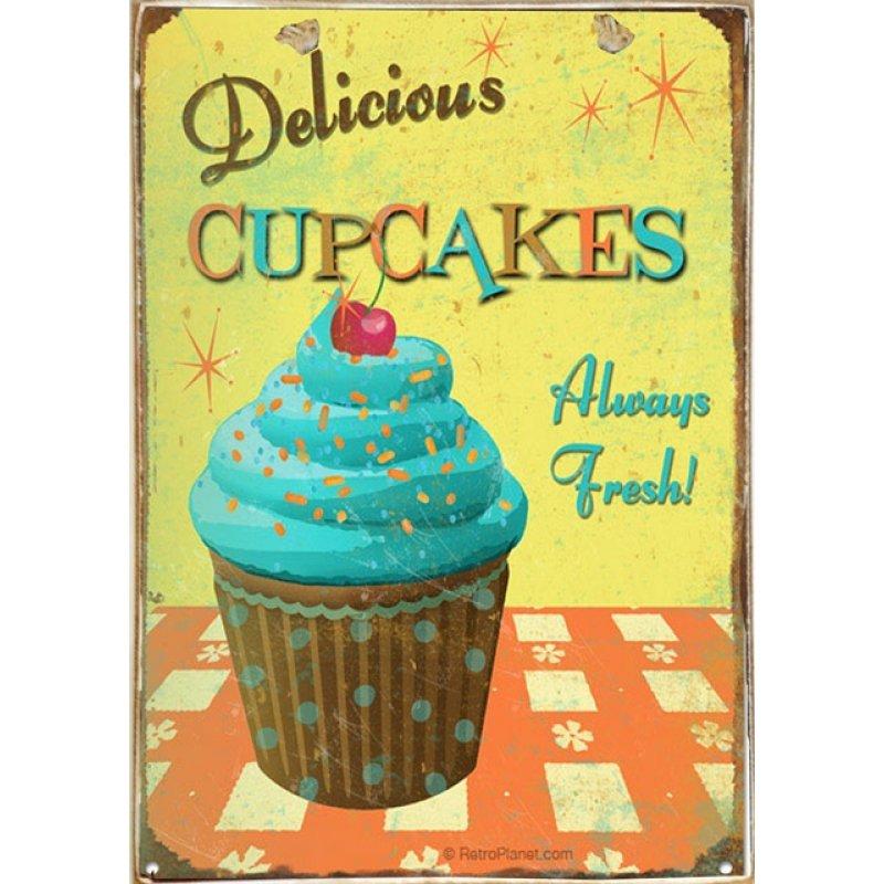 Ρετρό Πίνακας Χειροποίητος Delicious Cupcakes 20 x 30 cm