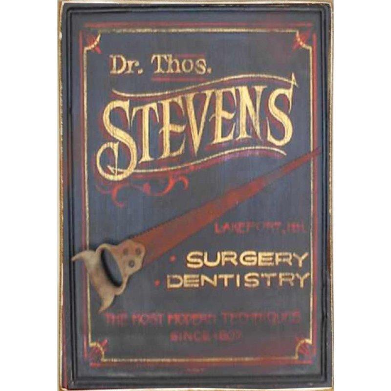Ρετρό Πίνακας Χειροποίητος Dentist 20 x 30 cm