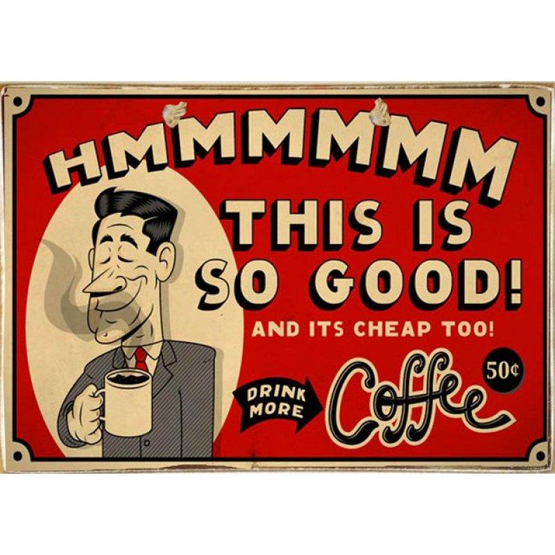 Ρετρό Πίνακας Χειροποίητος Drink More Coffee 30 x 20 cm