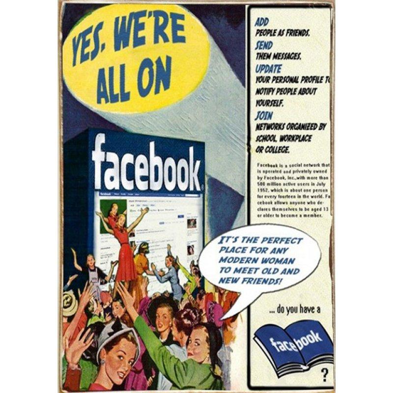 Ρετρό Πίνακας Χειροποίητος Facebook 20 x 30 cm