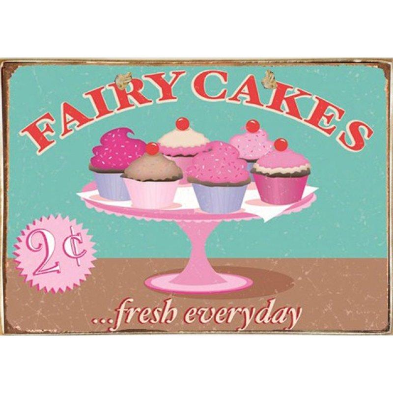 Ρετρό Πίνακας Χειροποίητος Fairy Cakes 30 x 20 cm