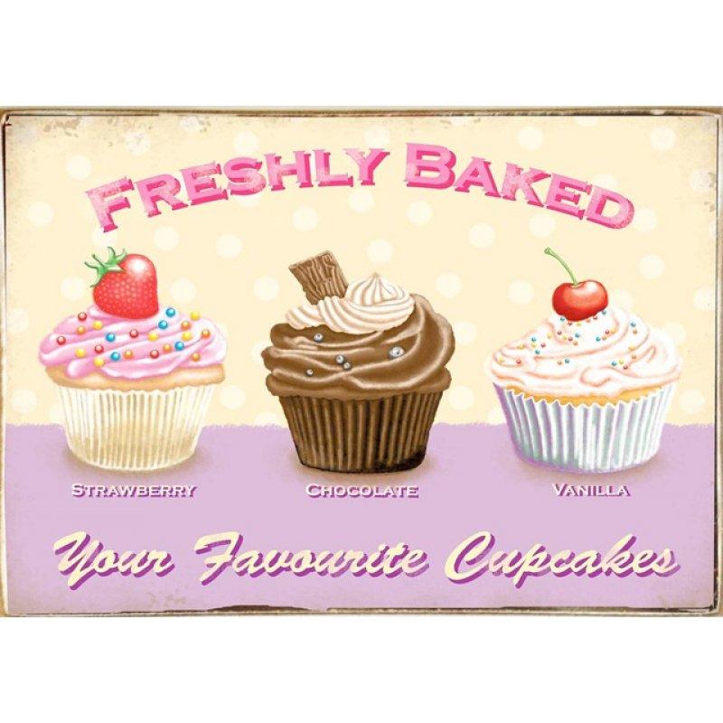 Ρετρό Πίνακας Χειροποίητος Fresh Cupcakes 30 x 20 cm