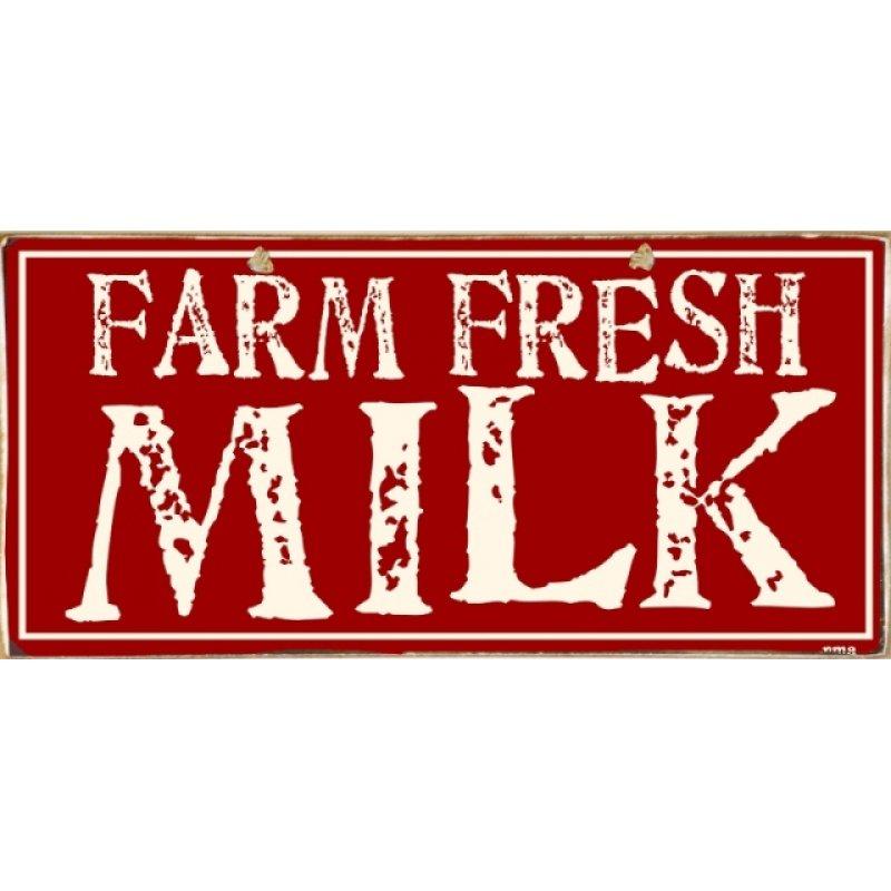 Ρετρό Πίνακας Χειροποίητος Fresh Milk 13 x 26 cm