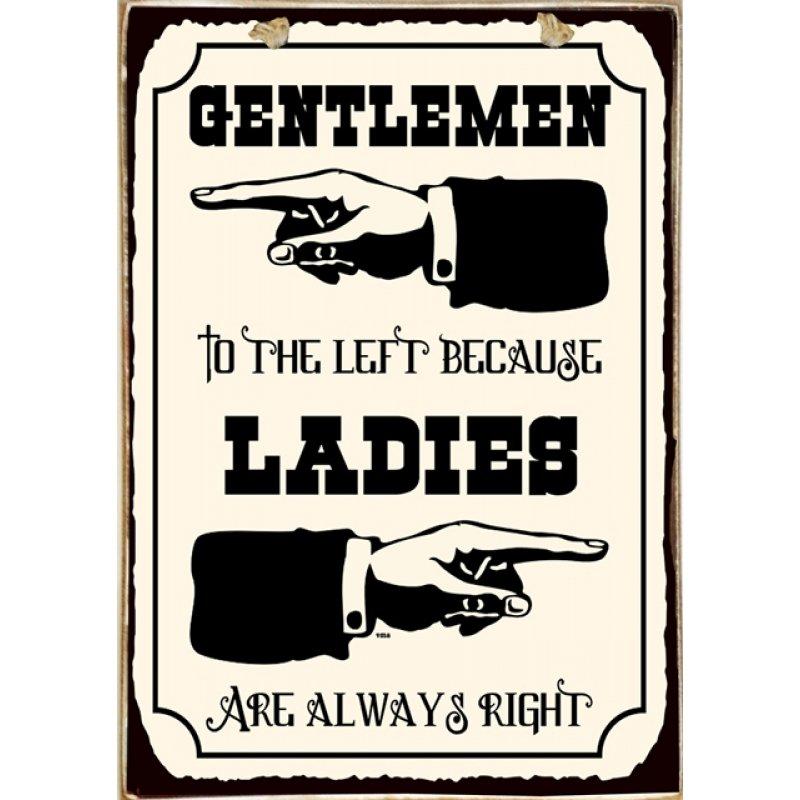 Ρετρό Πίνακας Χειροποίητος Gentlemen and Ladies 20 x 30 cm