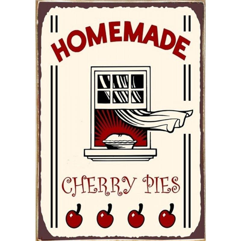 Ρετρό Πίνακας Χειροποίητος Homemade Cherry Pies 20 x 30 cm