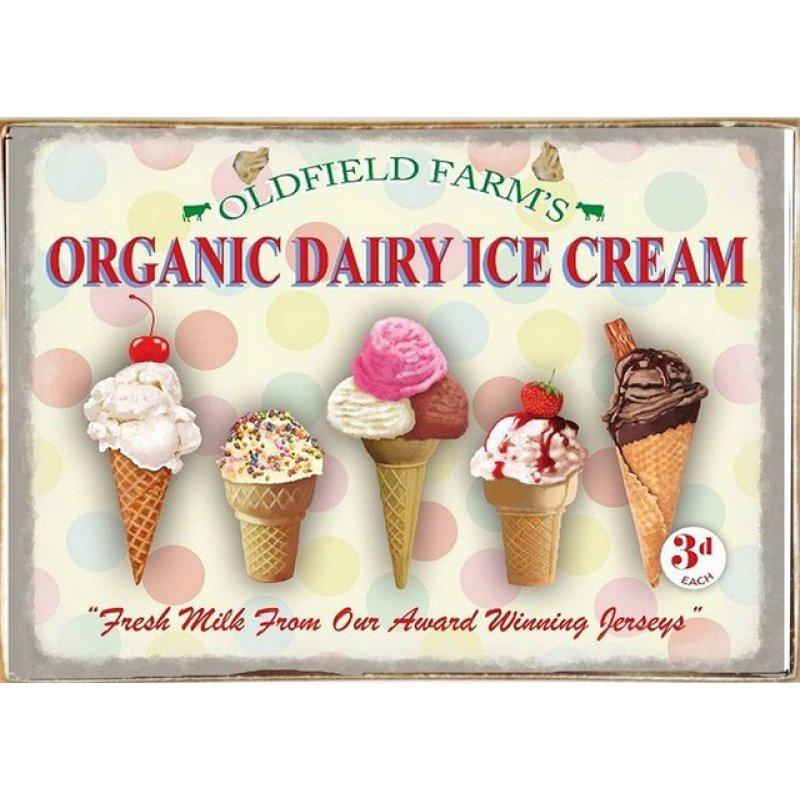 Ρετρό Πίνακας Χειροποίητος Ice Cream 30 x 20 cm