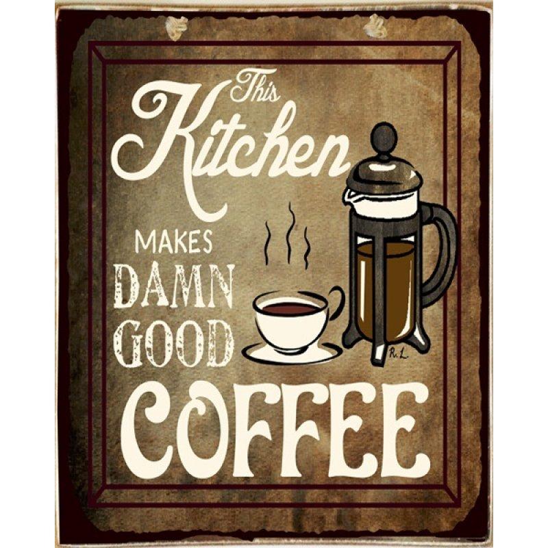 Ρετρό Πίνακας Χειροποίητος Kitchen Coffee 20 x 25 cm