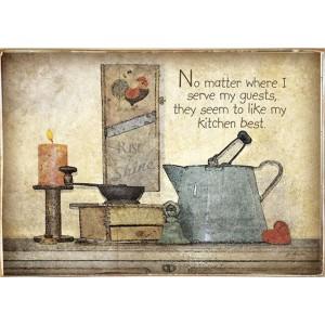 Ρετρό Πίνακας Χειροποίητος Kitchen Drawing 30 x 20 cm
