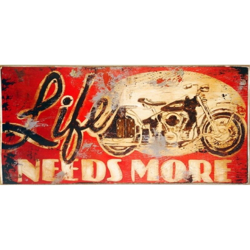 Ρετρό Πίνακας Χειροποίητος Life Needs More 13 x 26 cm