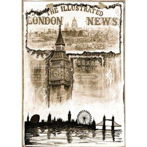 Ρετρό Πίνακας Χειροποίητος London News 20 x 30 cm