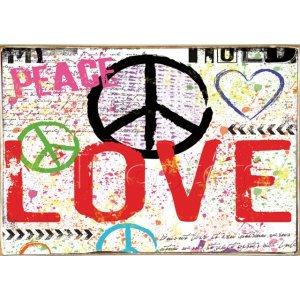 Ρετρό Πίνακας Χειροποίητος Love 30 x 20 cm