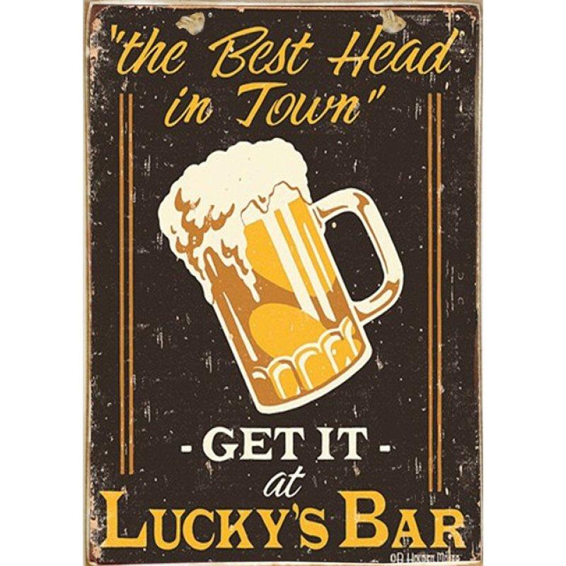Ρετρό Πίνακας Χειροποίητος Lucky Beer 20 x 30 cm