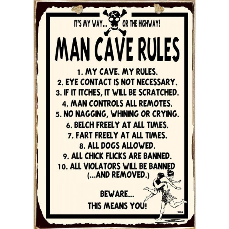 Ρετρό Πίνακας Χειροποίητος Man Cave Rules 20 x 30 cm
