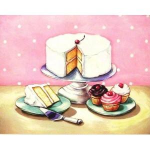 Ρετρό Πίνακας Χειροποίητος με απεικόνιση λαχταριστών Cupcakes