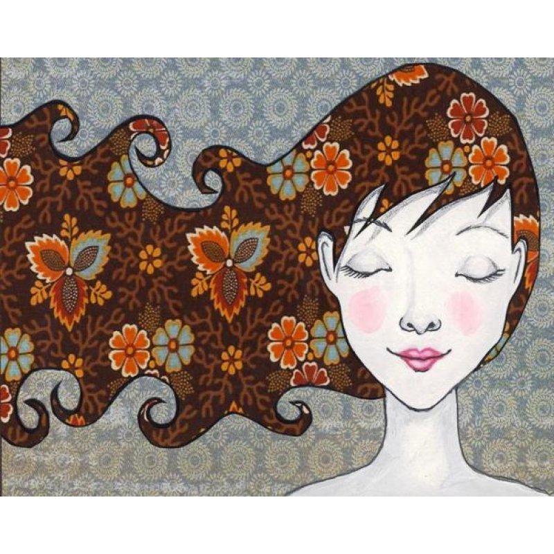 Ρετρό πίνακας χειροποίητος με κορίτσι με πολύχρωμα σχέδια