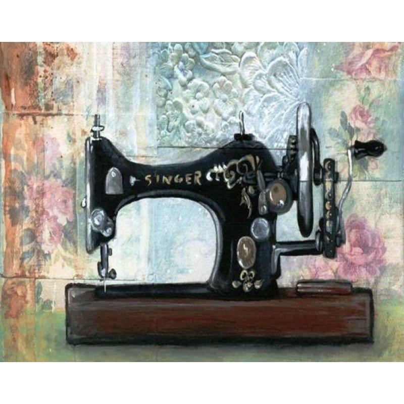 Ρετρό πίνακας χειροποίητος με ραπτομηχανή Singer