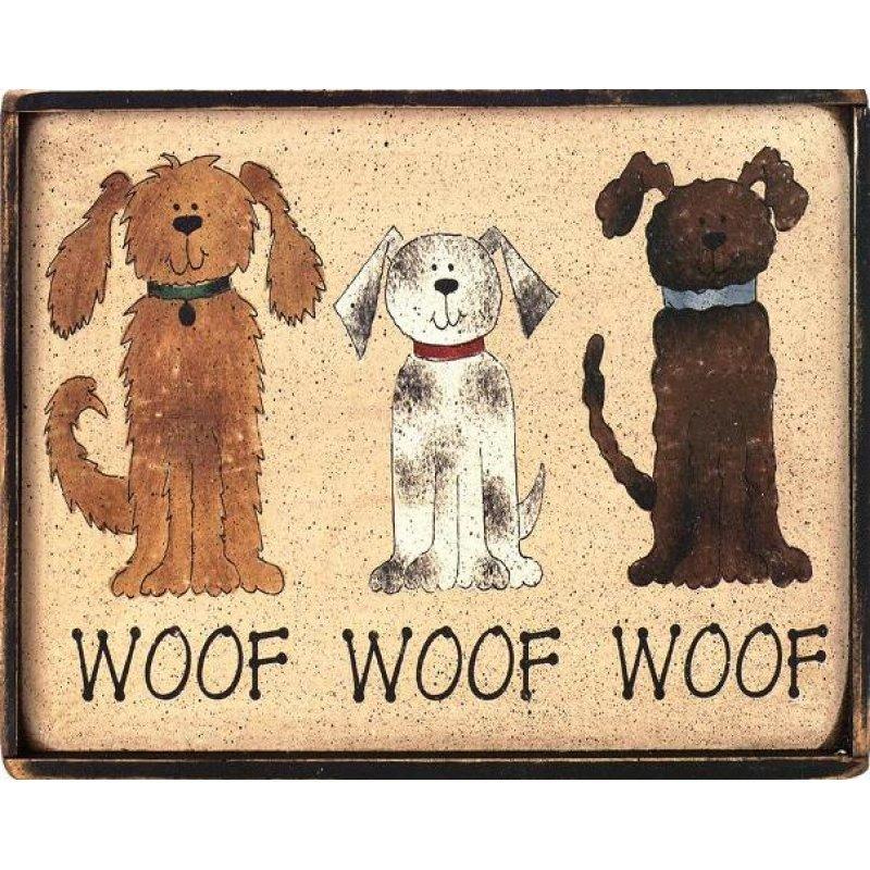 Ρετρό πίνακας χειροποίητος με σκυλάκια διαφορετικών χρωμάτων