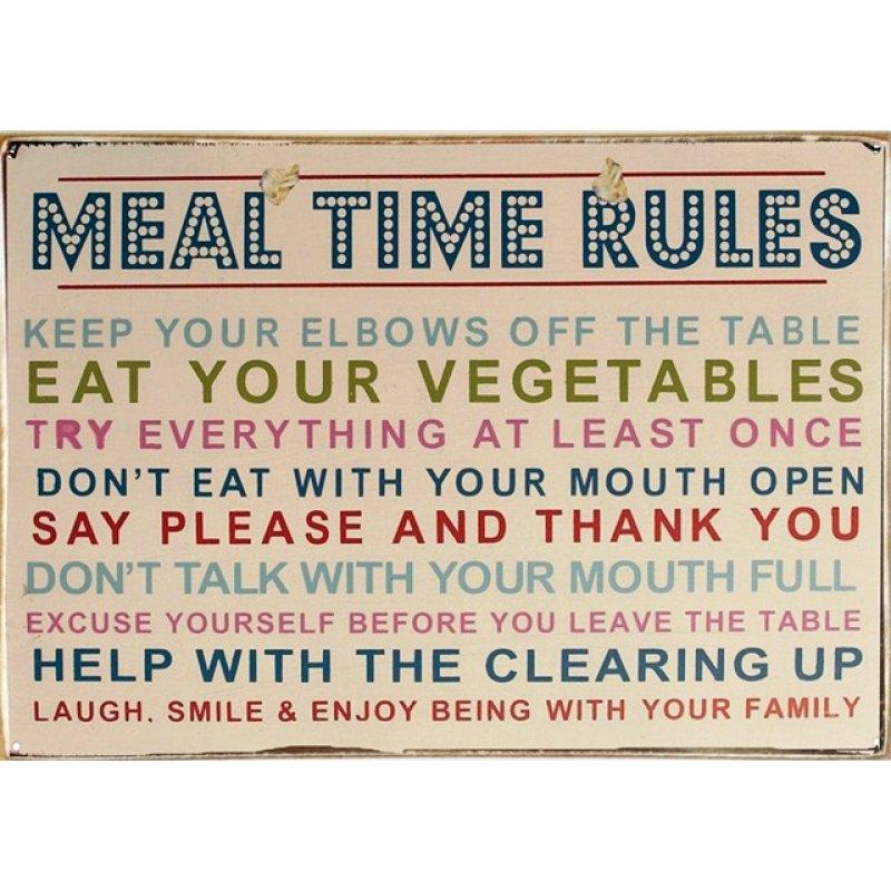 Ρετρό Πίνακας Χειροποίητος Meal Time Rules 30 x 20 cm