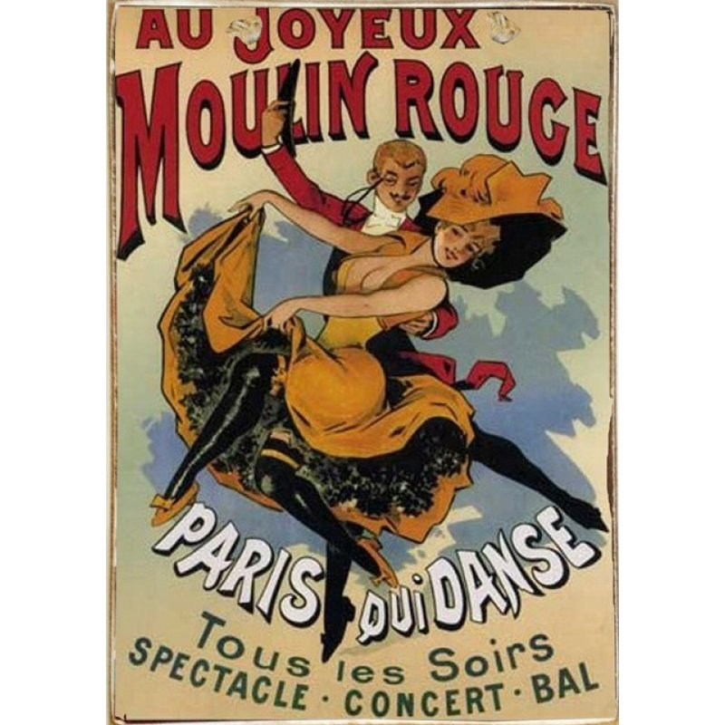 Ρετρό Πίνακας Χειροποίητος Moulin Rouge 20 x 30 cm