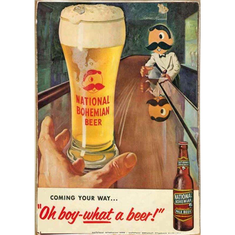 Ρετρό Πίνακας Χειροποίητος National Bohemian Beer 20 x 30 cm