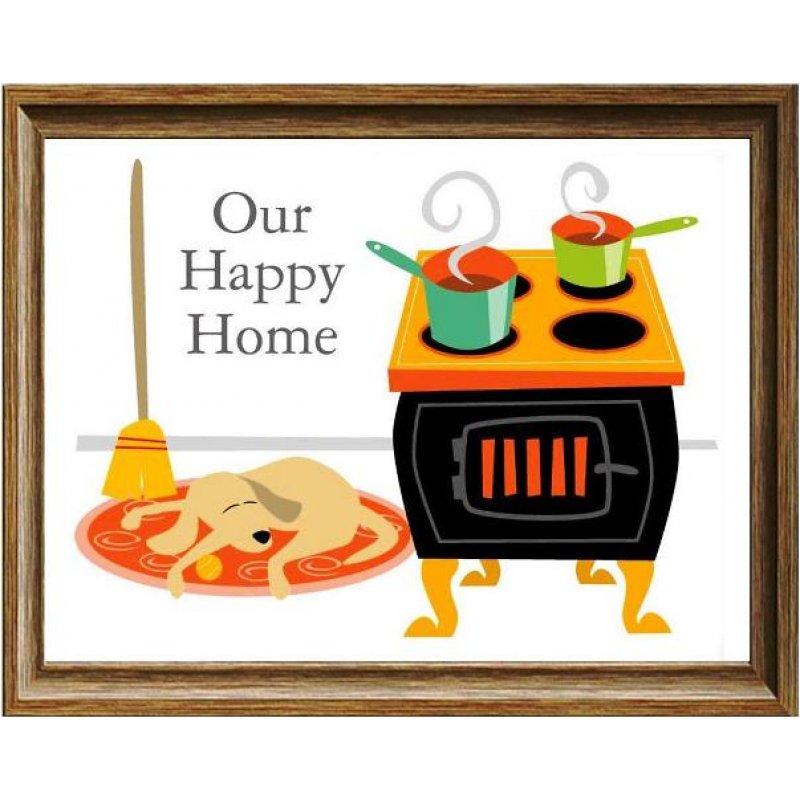 Ρετρό Πίνακας Χειροποίητος 'our happy home'