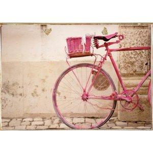 Ρετρό Πίνακας Χειροποίητος Pink Bike 30 x 20 cm