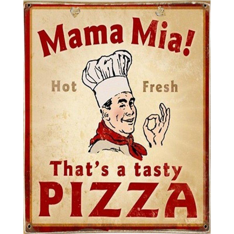 Ρετρό Πίνακας Χειροποίητος Pizza 20 x 25 cm