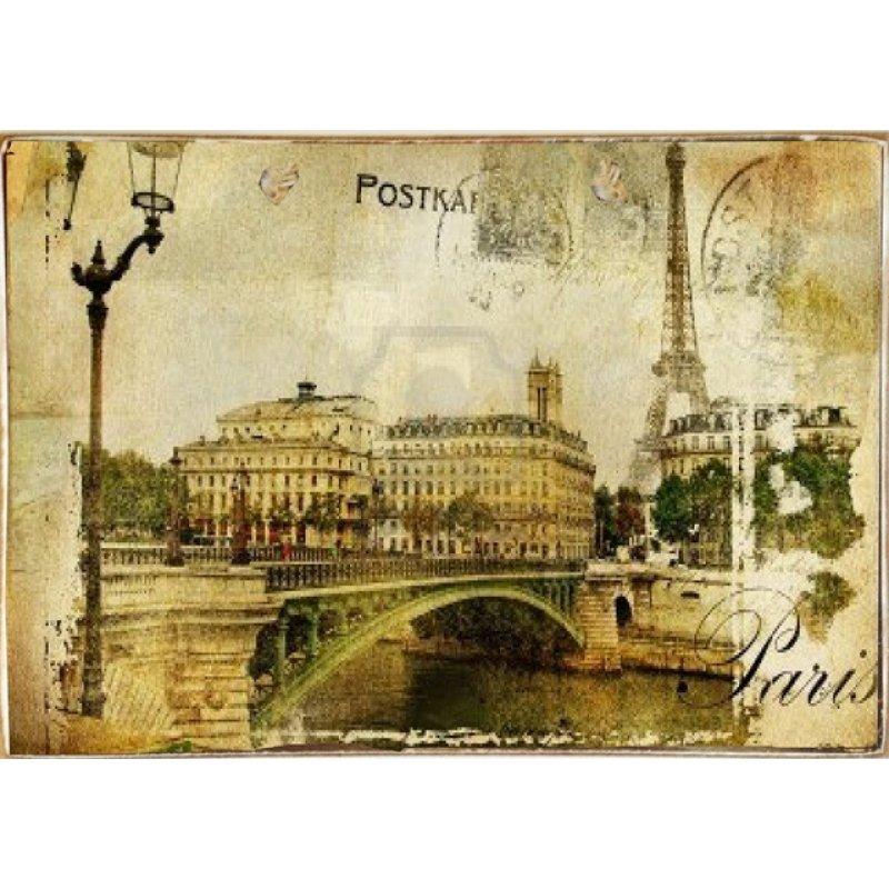 Ρετρό Πίνακας Χειροποίητος Postcard Paris 30 x 20 cm