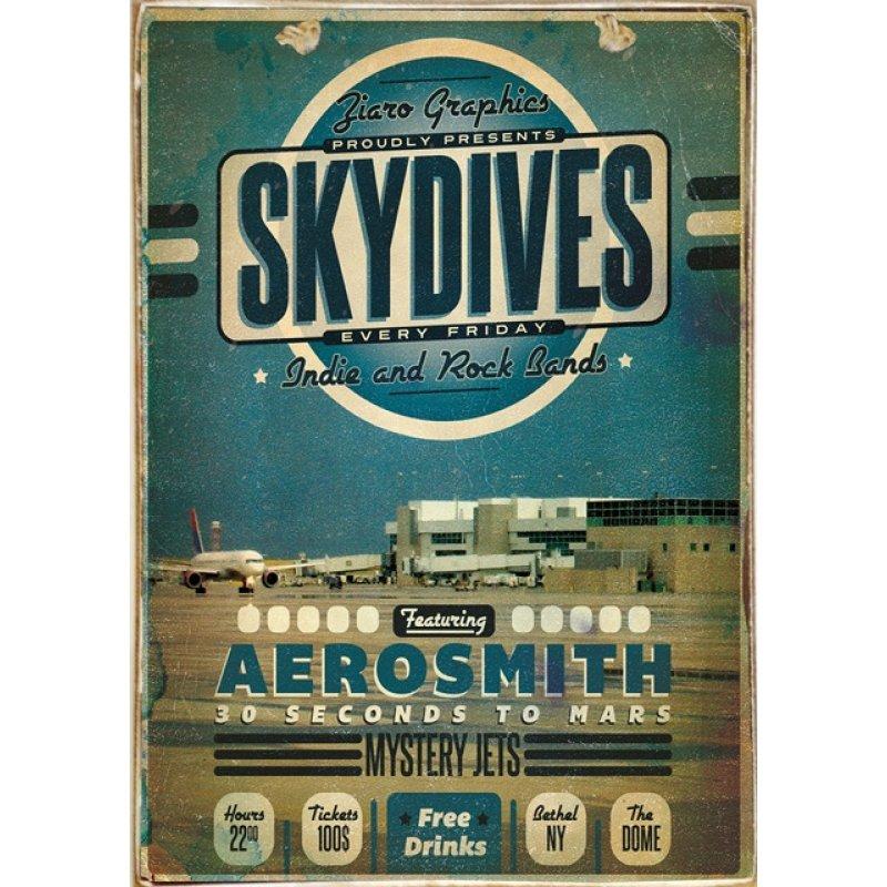 Ρετρό Πίνακας Χειροποίητος Skydives 20 x 30 cm