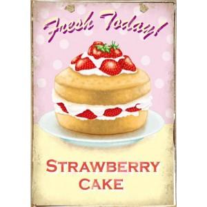 Ρετρό Πίνακας Χειροποίητος Stawberry Cake 20 x 30 cm